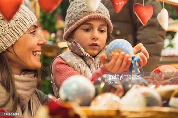 Christmas girl on the christmas market with retro look