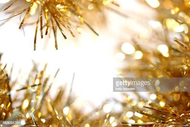 christmas gold tinsel border
