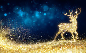 Golden Glitter Shaped Deer In Blue