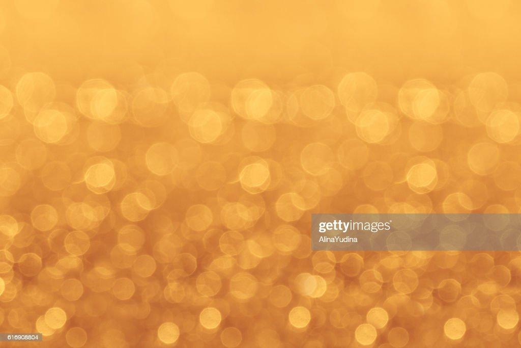 Christmas golden soft bokeh background. : Stock Photo