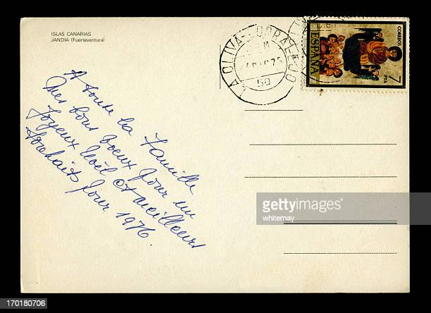 Christmas greetings postcard in French from the Canary Islands, 1975