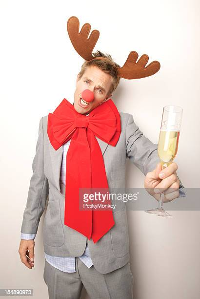 Christmas Holiday Office Party Businessman Reindeer Man Toasting Drunk