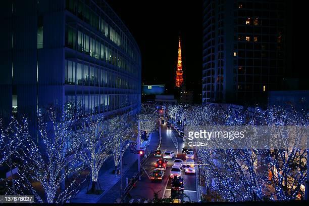 Christmas illumination lights in Roppongi hills