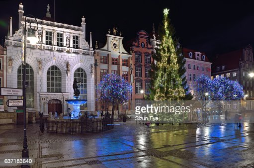 Christmas illuminations in the old town of Gdansk, Poland.
