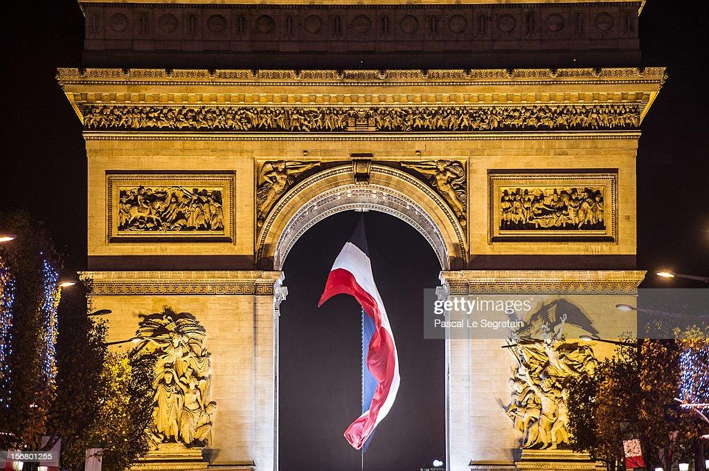 Christmas Illuminations light the Arc de Triomphe on November 21, 2012 in Paris, France.