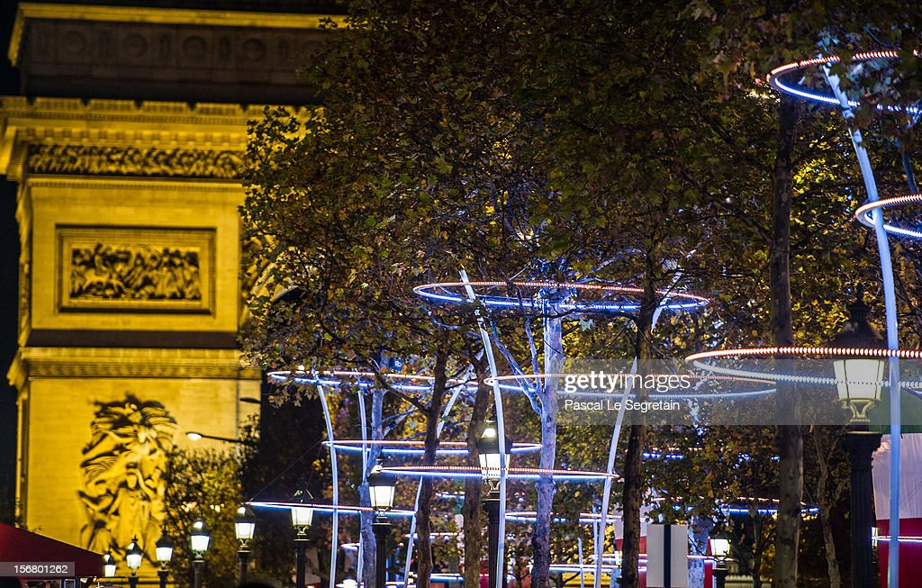 Christmas Illuminations light the Arc de Triomphe on November 21, 2012 in Paris, France.