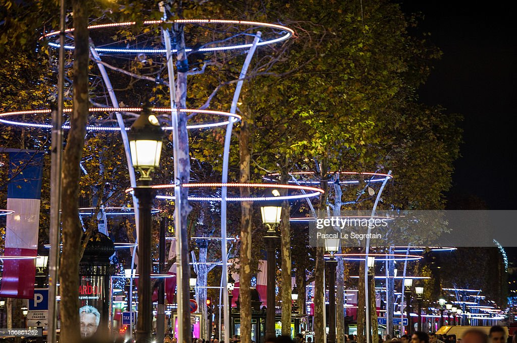 Christmas Illuminations light the Champs Elysees avenue on November 21, 2012 in Paris, France.