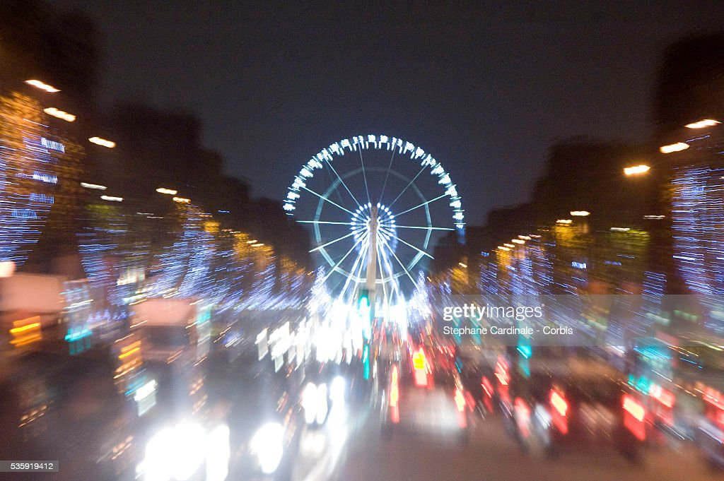 Christmas illuminations on the Champs-Elysees Avenue in Paris.