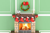 Christmas interior with fireplace, 3D rendering