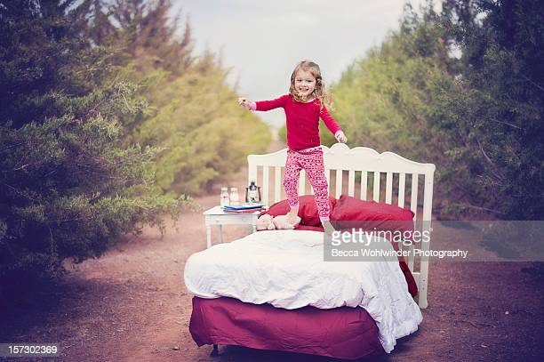 christmas jumping on the bed