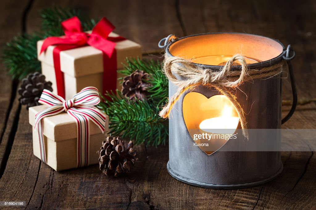 Christmas lantern with gifts : Stock Photo