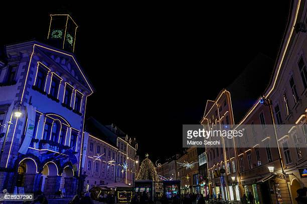 Christmas light and decorations shine on the city centre on December 10 2016 in Ljubljana Slovenia The traditional Christmas market and lights will...