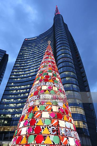 Christmas Lighting And Decorations In Milan Piazza Gae Aulenti on December 12 2014 in Milan Italy