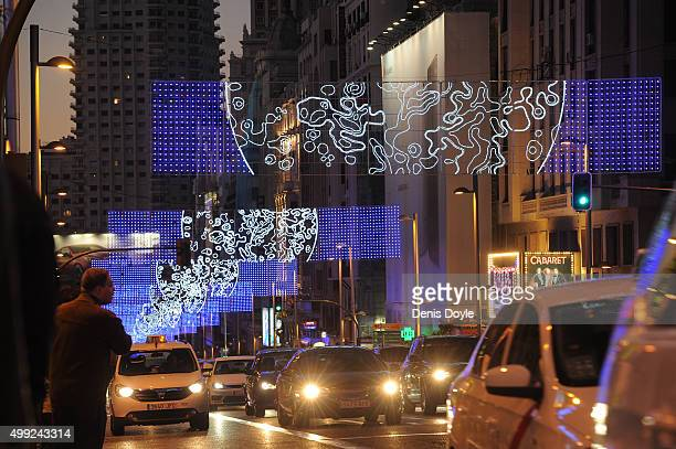 Christmas lighting illuminates Gran Via street on November 29 2015 in Madrid Spain LED lighting is switched on in the city center during the Spanish...