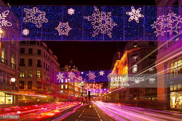Christmas lights along Regent Street in London's famous shopping district