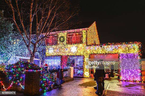 Christmas lights and decorations at a house in Tallagh Dublin Ireland on 13 December 2016