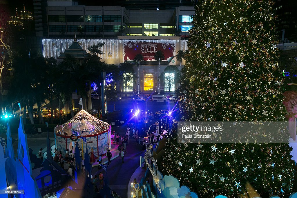 Christmas lights are seen at the Central World mall as the holiday season peaks in the shopping district December 15, 2012 in Bangkok,Thailand.Thailand's high tourist season is booming this year compared to 2011 which was tainted by the flooding as Christmas shoppers visit the malls looking for the bargains.