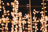 Christmas lights background Lights blurred bokeh