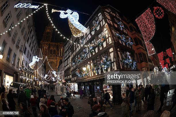 Christmas lights decorate the streets in Strasbourg eastern France on November 28 on the opening day of the city's Christmas market the largest and...
