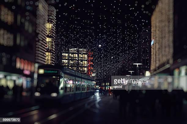 Christmas lights decoration street in Switzerland, Zurich