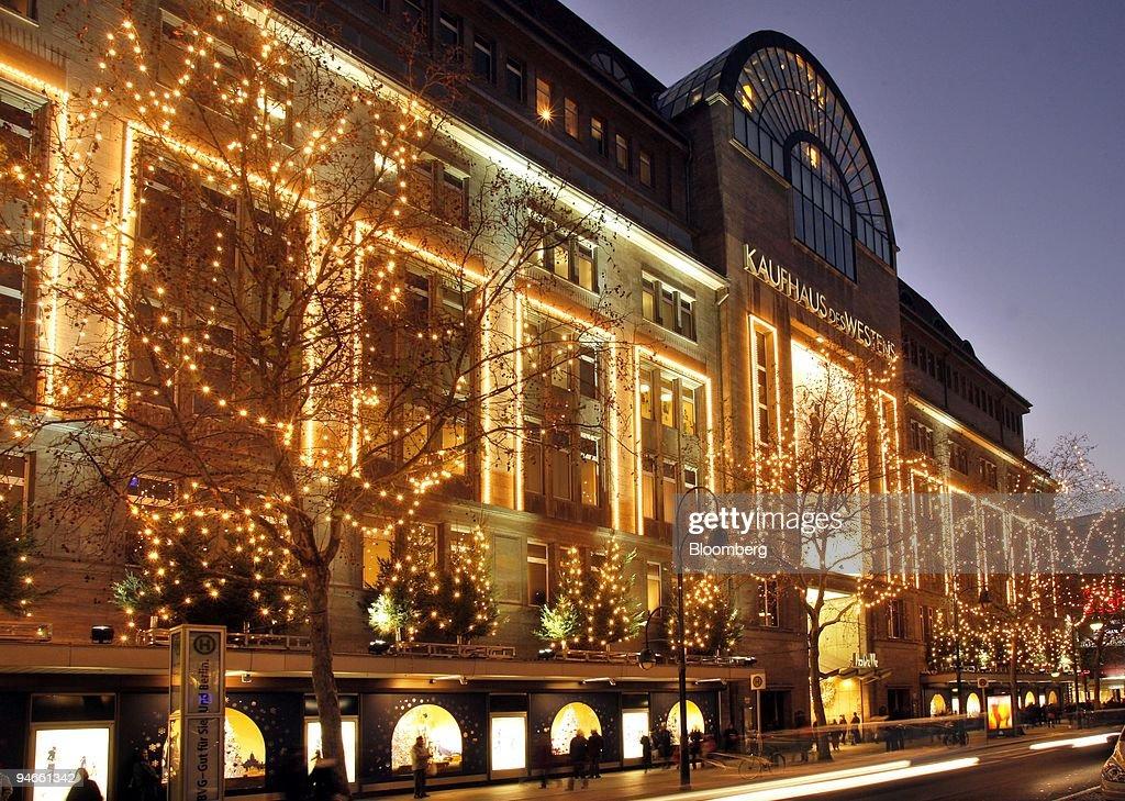 christmas lights hang outside the kadewe department store on kurfuerstendamm boulevard in berlin germany - Christmas Lights Installation Prices
