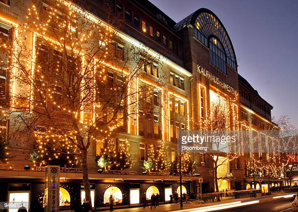 Christmas lights hang outside the KaDeWe department store on Kurfuerstendamm Boulevard in Berlin Germany on Tuesday Nov 27 2007 German consumer...