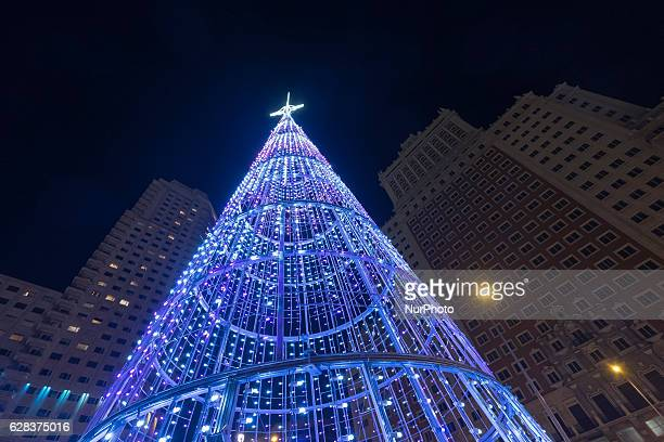 Christmas lights in of Madrid during the beginning of the annual Christmas season on December 2017 in Madrid Spain