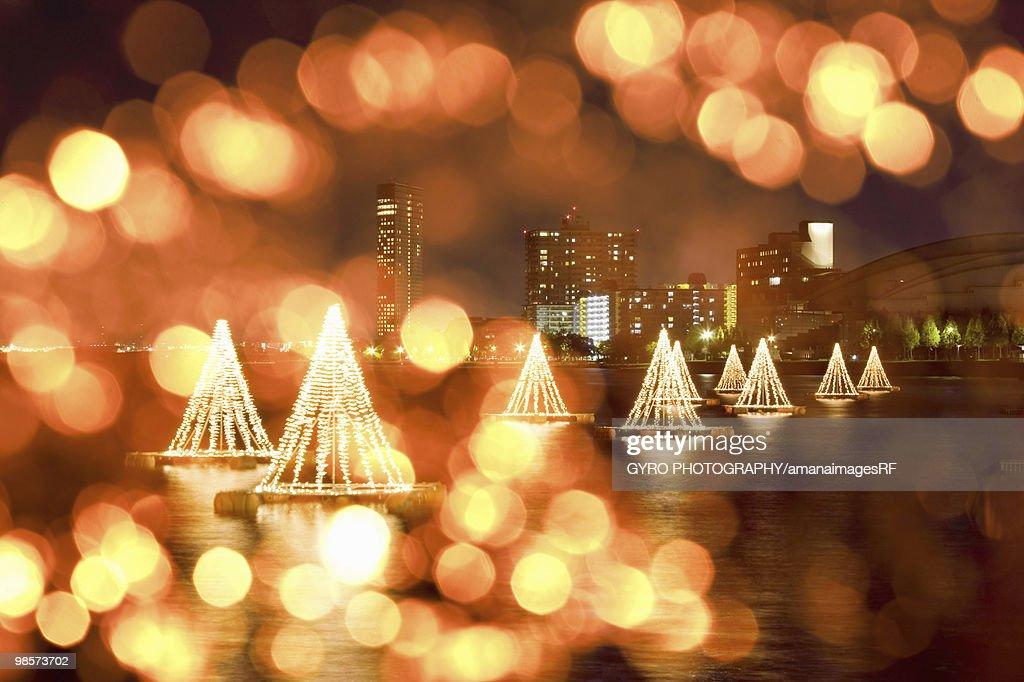 Christmas lights on floats in Lake Biwa, Otsu, Shiga Prefecture, Japan : Stock Photo