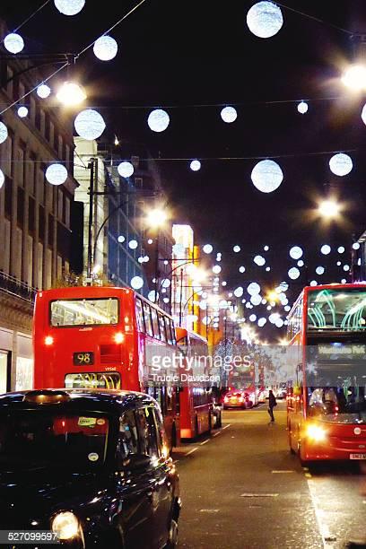Christmas lights on London's busy Oxford Street