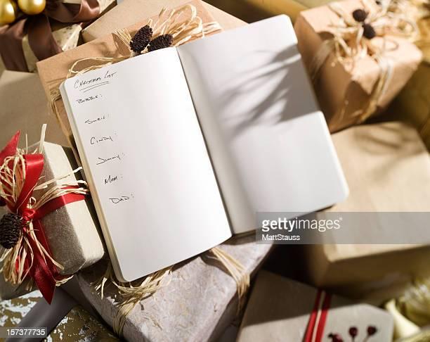 Weihnachten Liste mit den Namen.