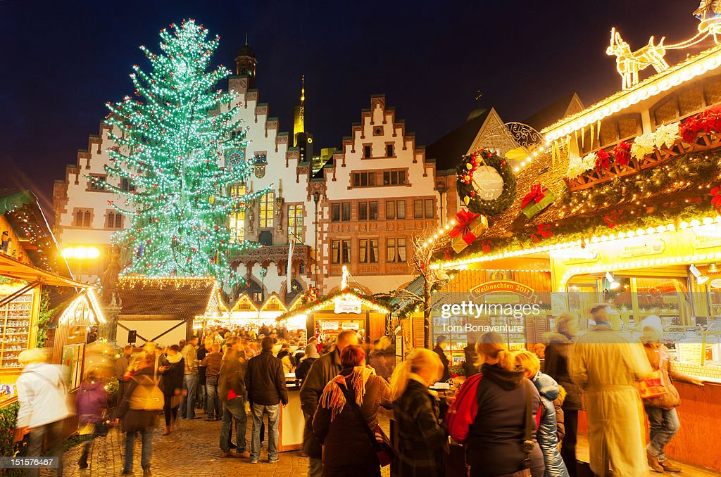 Christmas market at Romerburg square : Stock Photo