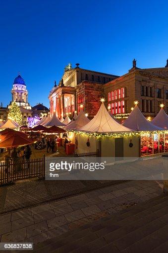 Christmas market at the Gendarmenmarkt at blue hour (Berlin, Germany)