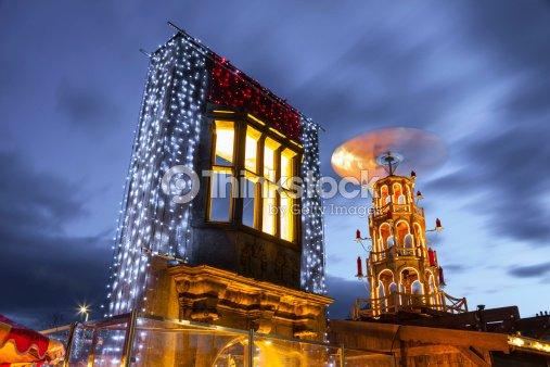 Christmas Market illuminated at night : Stock Photo