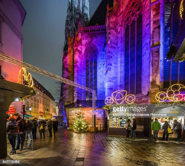 Christmas Market on Stephansplatz, Cathedral of St. Stephen on the background