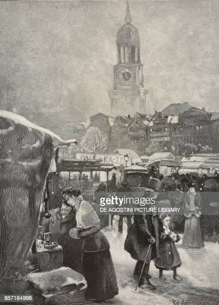 Christmas Market on the Zeughausplatz in Hamburg Germany illustration by Ludwig Dettmann woodcut by P Fruehauf from Moderne Kunst illustrated...