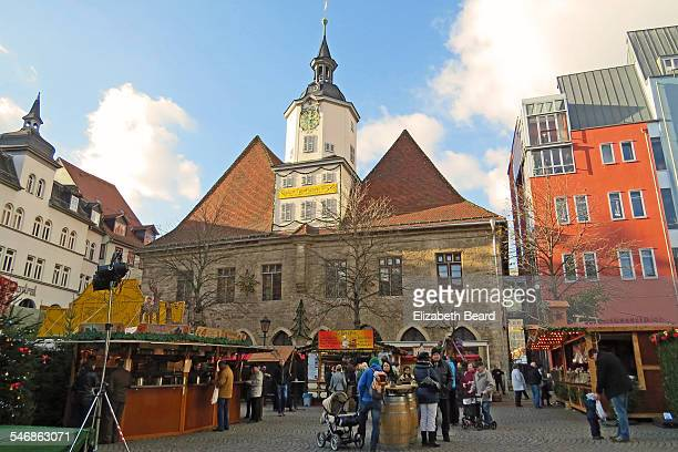 Christmas market stands and Jena Rathaus