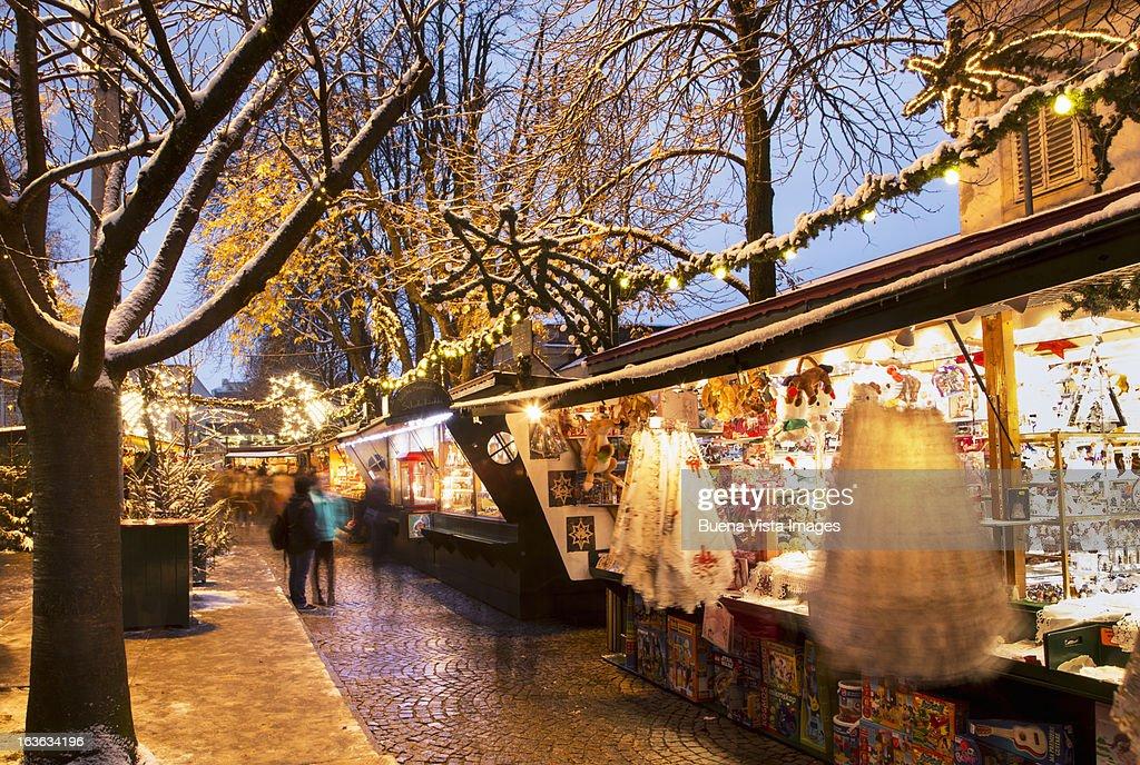Christmas Market under snow. : Stock Photo
