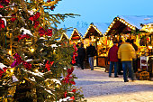 Christmas Market with snow