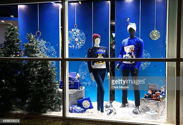 Christmas mechandise goes on sale in the club shop prior to kickoff during the Barclays Premier League match between Leicester City and Liverpool at...