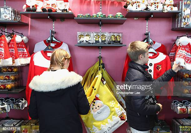 Christmas merchandise for sale in the Watford club shop prior to kick off during the Premier League match between Watford and Leicester City at...