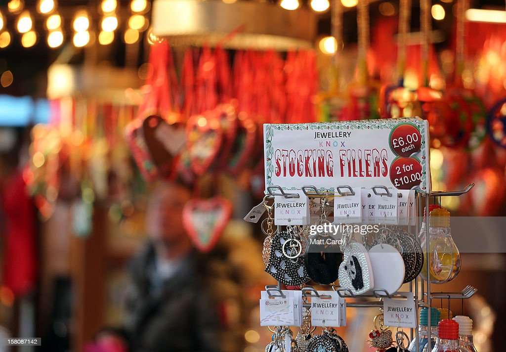 Christmas merchandise is displayed on a stall at a Christmas market on December 10, 2012 in Bristol, England. With internet shopping still on the rise, many traditional retailers claim this Christmas could be the one that will determine the future of the high street.