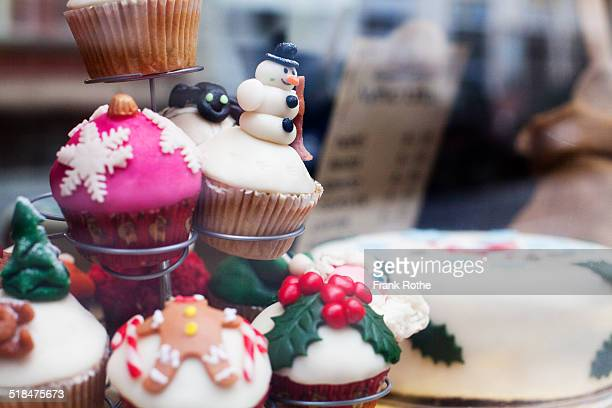 christmas muffins with nice decoration at display