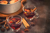 Hot mulled wine with spices for Christmas