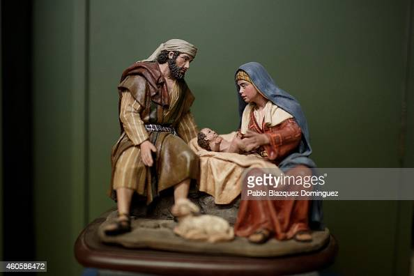 Christmas nativity scene is seen on display at Jose Luis Mayo's workshop on December 16 2014 in Madrid Spain Jose Luis Mayo is a recognized artisan...