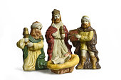 Christmas nativity scene with three kings and baby Jesus isolated on white background