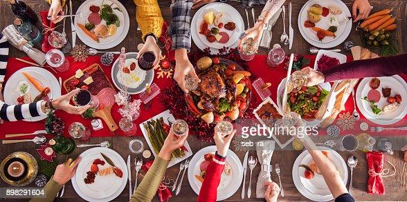 Weihnachten Silvester Abendessen Gruppenkonzept : Stock-Foto