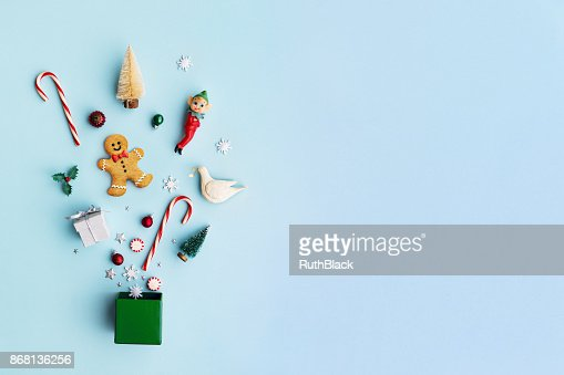Christmas objects in a gift box : Stock Photo