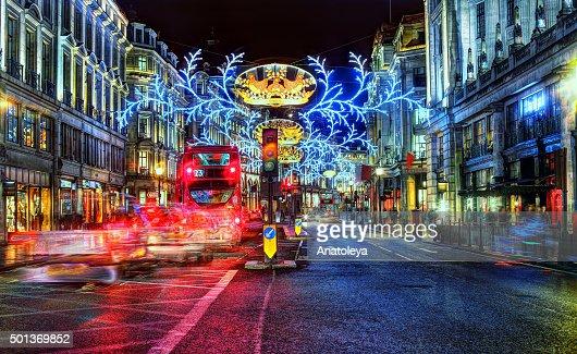 Christmas on Regent's Street at night