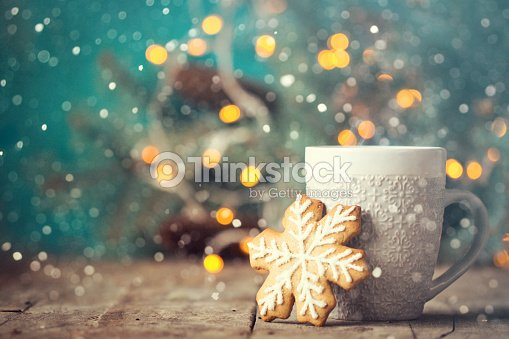Christmas or New Year composition with cocoa, marshmallows, gingerbread cookies and christmas decorations : Stock Photo