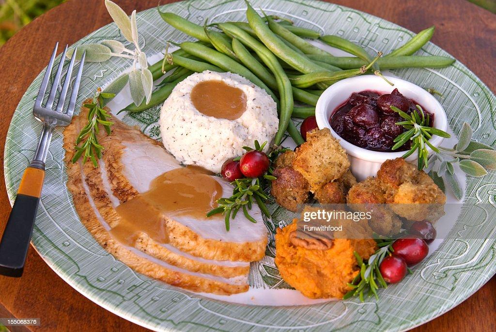 Christmas Or Thanksgiving Roast Turkey Dinner Plate Stock ...